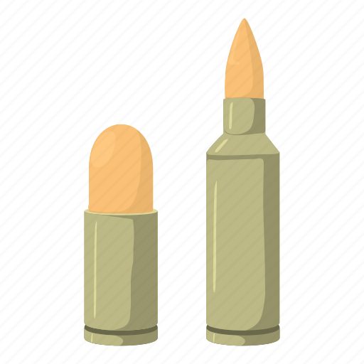 ammunition, bullet, cartoon, cartridge, military, projectile, weapon icon