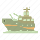 battleship, cartoon, military, navy, ship, warship, weapon icon