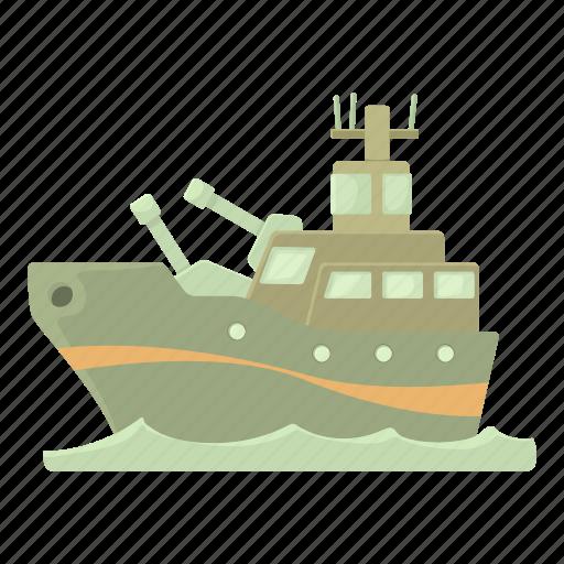 battleship, cartoon, military, navy, ship, warship, weapon icon