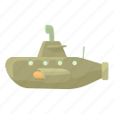 cartoon, drive, modern, research, submarine, travel, underwater icon