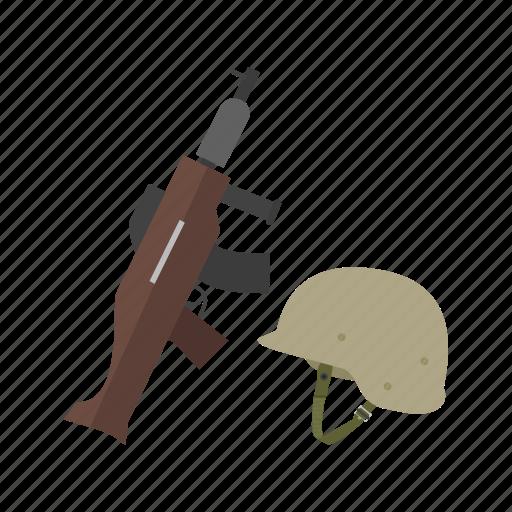 cross, gun, helmet, military, rifle, soldier, war icon
