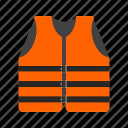 accident, boat, jacket, life, orange, safety, vest icon