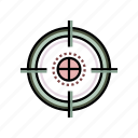 aim, crosshair, military, sight, sniper, target, weapon icon