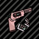bullet, danger, handgun, pistol, revolver, war, weapon icon