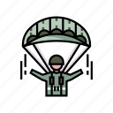 airborne, army, military, parachute, paratrooper, skydiving, war icon