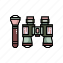 flashlight, gear, army, binocular, accessories, military, personal equipment icon