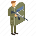 commando, fighter, military person, serviceman, soldier, war icon