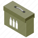 ammunition box, armoured case, bullet box, military weapon, war equipments icon