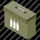 ammunition box, armoured case, bullet box, military weapon, war equipments
