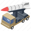 ammunition tanker, bullet truck, missile tank, projectile, rocket bomb, shell, small rocket icon