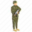 commando, fighter, fighting soldier, military person, serviceman icon