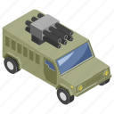 armored vehicle, army wares, military truck, transportation, weapon truck icon
