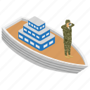 army boat, military battleship, naval weapon, soldier, water craft