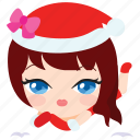 christmas, costume, emoticon, girl, outfit, sexy, woman icon