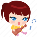 cute, emoticon, girl, guitar, music, playing, singing icon