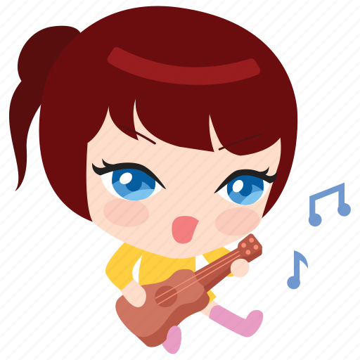cute, emoticon, girl, guitar, music, playing, singing icon