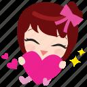 <3, cute, emoticon, girl, heart, love, thankyou icon