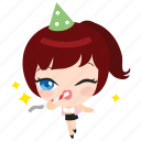 cute, emoticon, girl, happy, new, party, years icon