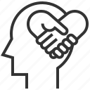 empathy, head, heart, love, mind, sign, sympathy icon