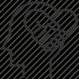 empathy, head, heart, love, mind, sign, sympathy icon