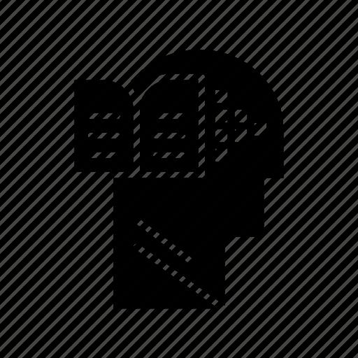 book, head, knowledge, mind icon