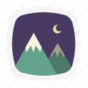 moon, mountain, night, picture icon