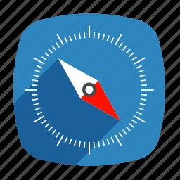compass, gps, long shadow, navigator, safari icon