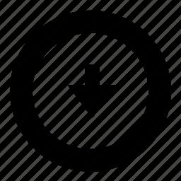 arrow, below, down, down arrow icon