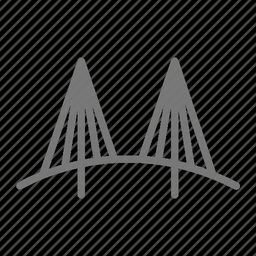 bridge, cross, metal, road, suspension, vehicle, wire icon