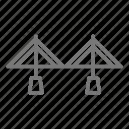 bridge, cross, metal, road, suspension, transportation, travel icon