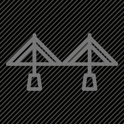 bridge, metal, road, suspension, transportation icon