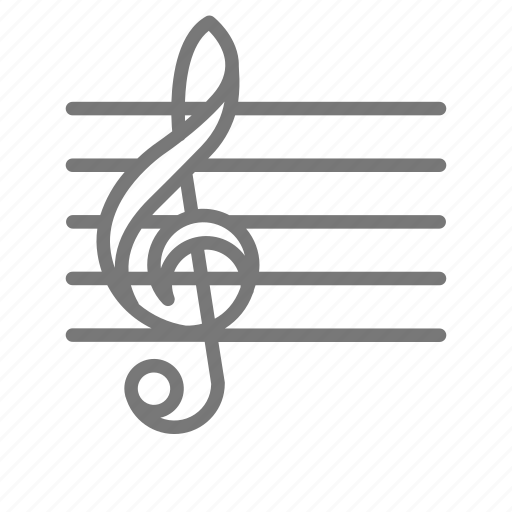 Bar, notes, lines, music, clef icon