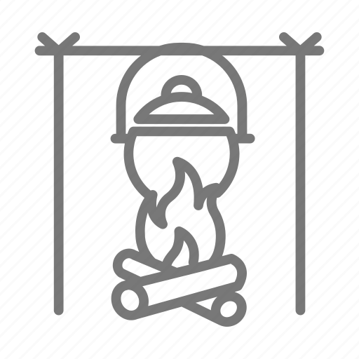 cast iron, cook, cookware, fire, flame, pot, scout icon