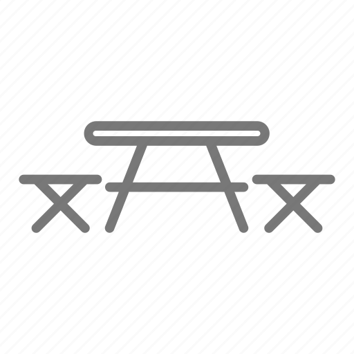 camp, outdoors, picnic, scout, seat, table, wood icon
