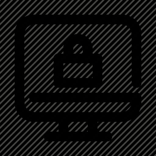 computer, display, lock, locked, monitor, screen, security icon