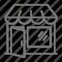 door, front, main street, overhang, shop, store, window icon
