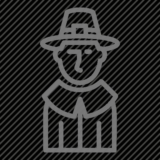 man, pilgrim, thanksgiving icon