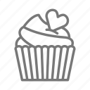 cupcake, heart, valentine icon