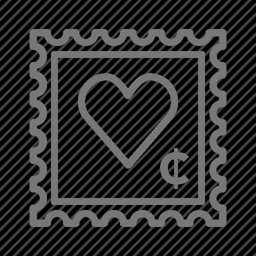heart, mail, stamp, valentine icon