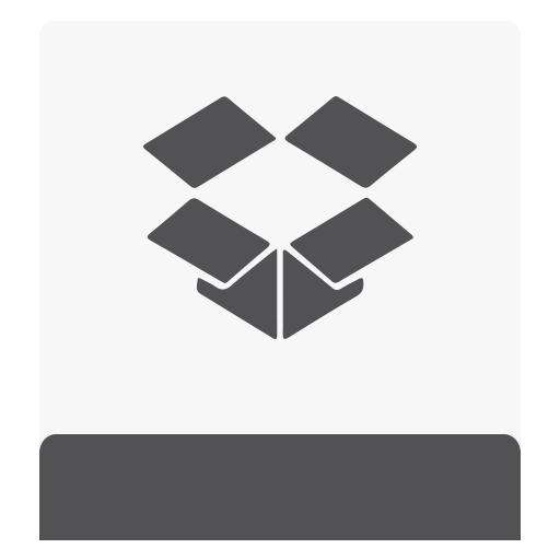 dropbox, hdd, white icon