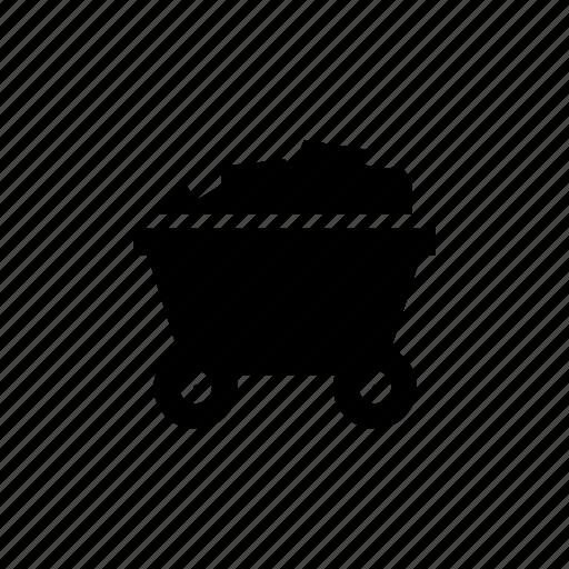 cart, coal, mining icon