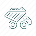 dump truck, truck, vehicle, heavy, mining icon
