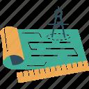 blue, document, measurements, prints icon