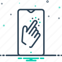 a single time, gesture, index, indicate, once, once time, tap icon