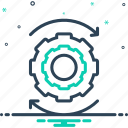 achinery, cogwheel, continuing, efficiency, in progress, ongoing, proceeding icon