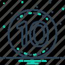 badge, decade, decennary, dicker, label, nuber, ten icon
