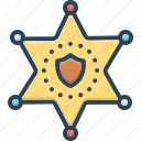 authority, badge, decoration, deputy, hexagram, sheriff, star