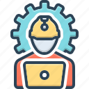 authorizing, construction, engineering, helmet, manufacturing, occupation, repair icon
