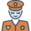 authority, cop, lawman, patrolman, peeler, policeman, uniform