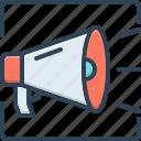 announcement, bullhorn, megaphone, message, promote, protest, speaker icon